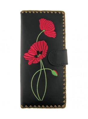 Peňaženka Červené maky - čierna koža