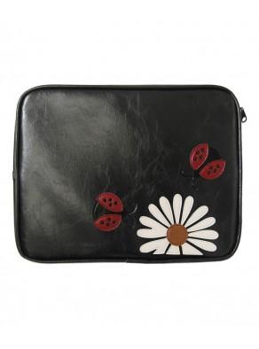 Puzdro na tablet / iPad - lienky, čierna koža