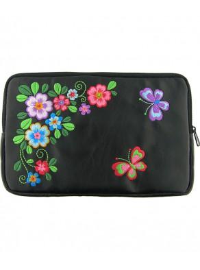 Puzdro na iPad / eReader - kvety, čierna koža