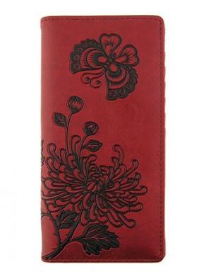 Peňaženka Kvety chryzantém - červená koža
