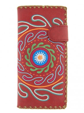 Peňaženka Kruhy - červená koža