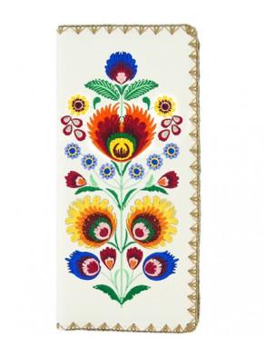 Peňaženka Folk art - biela koža