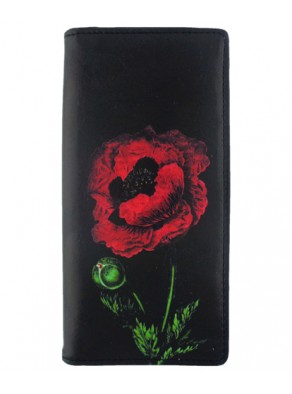 Peňaženka maľovaný Mak - čierna koža